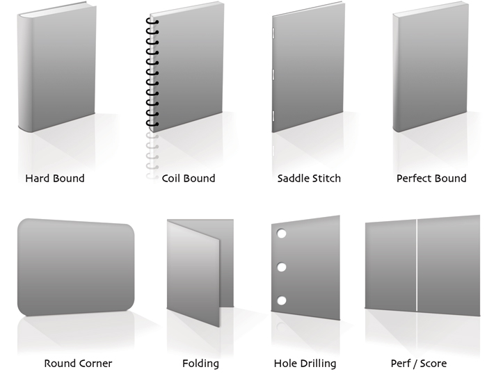 Hard Bound, Coil Bound, Saddle Stitch, Perfect Bound, Round Corner, Folding, Hole Drilling, Perf/Score